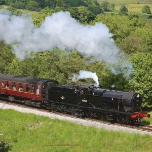 Steam train approaching Haworth