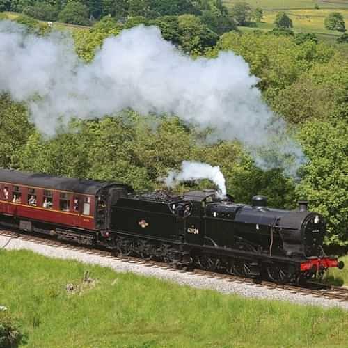 Steam train approaching Haworth